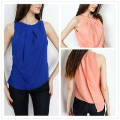 This+classy,+beautiful+pleated+tank+comes+in+Black,+Blue,+Coral+and+Ivory.    Material:+100%+Polyester  Care:+Hand+Wash+Cold    Small:+0-4  Medium:+6-8  Large:+10-12