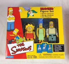 Simpsons Blocko Figures 3-Pack Set Homer Marge Lisa Family House 2002 Playmates #PlaymatesToys