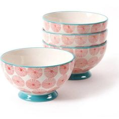 """The Pioneer Woman Flea Market 6"""" Happiness Decorated Footed Bowls, Red & Turquoise, Set of 4 - Walmart.com"""