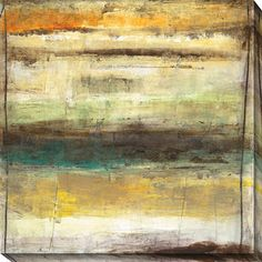 This appropriately titled abstract giclee art, 'Provoke II,' will do just that by drawing your guests to spirited speculation. In hues of tan, gold, and teal, this gallery-wrapped canvas will add a sense of mystery and intrigue to your space.