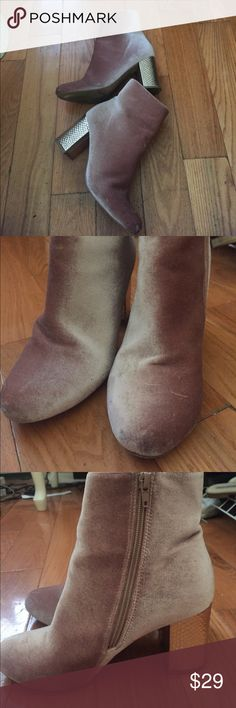 Windsor store nude blush velvet boots 7.5 I got these boots last fall I wore them a few times but they are not my style anymore! I got tons of compliments. They are in good condition. Windsor Shoes Ankle Boots & Booties