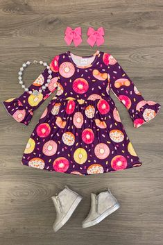 Delightful Donut Dress Baby Girl Shirts, Shirts For Girls, Sweet Style, Her Style, Cute Donuts, Bell Sleeve Dress, Formal Wear, Boutique Clothing, Pink