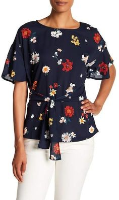 967d7e9d685e27 Pleione TIe Waist Floral Blouse  affiliate link Floral Blouse
