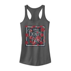 10d1f65193c7ad Beauty and the Beast - Beauty and the Beast Juniors  Rose Logo Racerback  Tank Top - Walmart.com