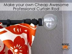 DIY: make your own curtain rod and spray paint it to make it look nice