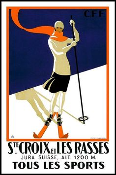 vintage skiing poster.