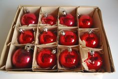 12 Vintage Mercury  Glass Christmas Ornaments Red 1940's by treasurecoveally on Etsy