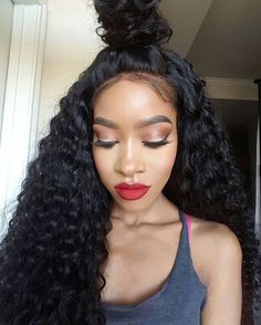 Glueless Full Lace Lace Front Wigs Deep Curly Wave Human
