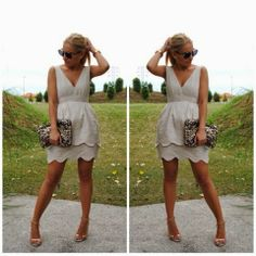 How to Chic: GET THE BLOGGERS LOOK - BEIGE RUFFLE PARTY DRESS