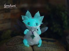 handmade art toy by Furrykami fantasy characrer doll glow in the dark magic fairy
