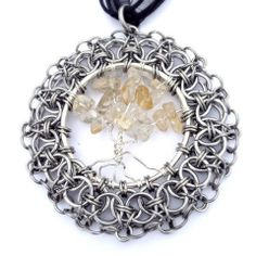 Goddess II - Helms Weave Chainmaille Framed Tree of Life Necklace (Citrine Stones) by Penny Cheng – Saniki Creations Handmade Chainmaille and Adornments