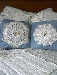 My mom, @bethmillergreen repurposed some of her mother's relics to make unique pillows. She sewed two similar-in-size doilies on to matching pillows and and pinned a couple vintage pins to the center. #thesewingparty #repurpose #diy #maderemade #grandma