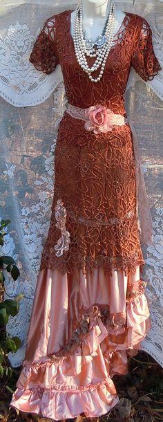 Rust crochet dress lace satin pink vintage edwardian bohemian wedding romantic small by vintage opulence on Etsy Diy Crochet Cardigan, Crochet Skirt Pattern, Crochet Lace, Tea Length Wedding Dress, Wedding Dresses, Vintage Opulence, Vintage Outfits, Vintage Fashion, Couple Outfits