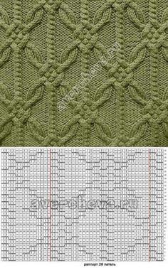 Cable braid diamond knit stitch patterns with chart Cable Knitting Patterns, Knitting Stiches, Knitting Charts, Knitting Designs, Knit Patterns, Crochet Stitches, Baby Knitting, Stitch Patterns, Crochet Beret
