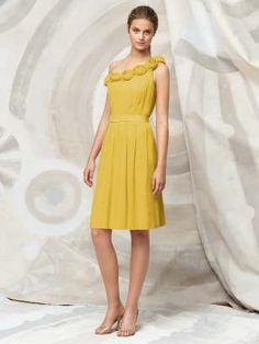 "bridesmaid: Dessy Collection - Lela Rose Bridesmaid Style LR118 (crinkle chiffon in ""marigold"")"