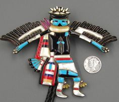Huge KNIFEWING Zuni KACHINA Inlaid TURQUOISE Coral Jet Inlay BOLO TIE or PENDANT