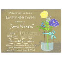 Mason Jar Blue Baby Shower Invitation