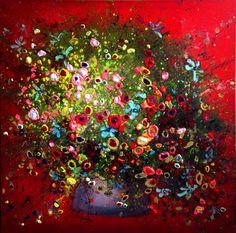 Bloemen - Yulia Muravyeva Flower Landscape, Pour Painting, Rock Crafts, Plexus Products, Painting Inspiration, Paint Colors, My Arts, Christmas Tree, Colours