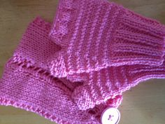 Pink head wrap with matching fingerless mittens at HomeSpun Creations Gift Shop.