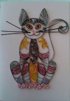 Cat card by quilling