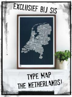 Netherlands type map sheer slate   Bold & Noble   Stoer in Style