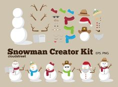 Christmas clip art : Snowman Creator Kit for personal and commercial use ( snowman clipart ). $4.95, via Etsy.