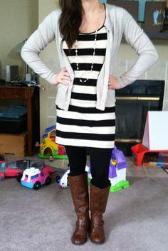 Striped H dress, cardi, leggings and boots