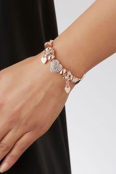 Buy Lipsy Pave Crystal Heart Charm Bracelet from the Next UK online shop - Pandora Pandora Bracelet Charms, Pandora Jewelry, Pandora Pandora, Gold Bracelet For Women, Bracelet Designs, Bracelet Making, Heart Charm, Beautiful Rings, Women's Bracelets