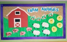 Farm animal bulletin board. Amazing Animals unit. Infant classroom. Farm Animals Preschool, Farm Animal Crafts, Preschool Activities, Preschool Boards, Toddler Bulletin Boards, Birthday Bulletin Boards, Birthday Board, Farm Bulletin Board, Bullentin Boards