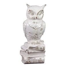 Bring a dash of springtime charm to your end table, console, or dresser with this lovely piece of d�cor. Product: Owl statuetteConstruction Material: CeramicColor: WhiteDimensions: 16.93 H x 6.3 W x 7.17 DCleaning and Care: Wipe with clean damp cloth
