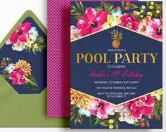 Pool Party Invitation Navy Pink Gold Pineapple Hibiscus Tropical by WestminsterPaperCo on Etsy