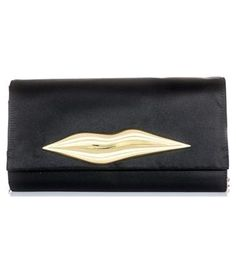 This black clutch bag has a front flap with a gold metal lips front detail and a magnetic push-button closure.  The bag has a detachable gold chain and black suede shoulder strap with one internal zipped pocket.  100% polyester, metal, fabric lining.#Matchesfashion