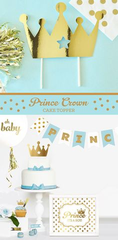 CROWN Cake Topper Prince Cake Topper Little Prince by ModParty
