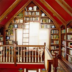 in home library with ladder | Really nice and creative with different shape window
