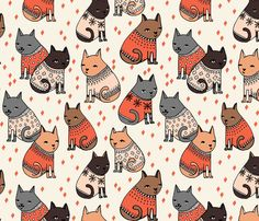cats in sweaters // holiday christmas sweater ugly sweater illustration pattern for fashion textiles and wallpapers fabric by andrea_lauren on Spoonflower - custom fabric Fall Patterns, Textile Patterns, Print Patterns, Cat Pattern, Pattern Art, Pattern Design, Cat Fabric, Fabric Shop, Drawing
