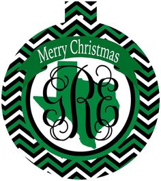 University North Texas Monogrammed Christmas Ornament, UNT gift | Brant Point Prep
