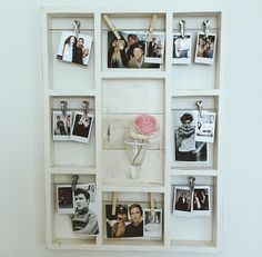 DIY Room Decor: A more organized idea rather than just using fishing line and clothes pins! :)