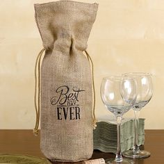 Burlap Wine Bag - Best Day Ever