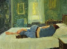 A Break in Their Day ~ artist David Hettinger; oil on linen,  18 in. x 24 in.