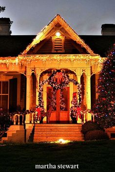 """The suburbs of Charlotte have established McAdenville as """"Christmas Town USA."""" Residents create a massive holiday display that includes nearly every home in town—for over 60 years people travel to see more than 250 trees decked out in upwards of 500,000 lights. #christmas #holidayideas #christmasideas #wintertodo #marthastewart Holiday Lights, Christmas Lights, Tree Deck, Snowy Weather, Visit Santa, Christmas Town, Christmas Wonderland, Old Farm Houses, Tree Lighting"""