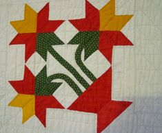I think this is actually a peony block North Carolina Lily Antique Quilt- Mint   Cindy Rennels Antique Quilts
