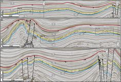 Beautiful interpreted seismic line, Santos Basin, Brazil, by Chris Jackson (2012), GSA Bulletin.