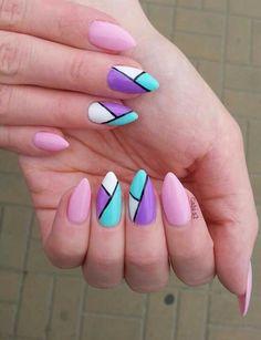nailart#nail#semilac#pink#blue#violet#white