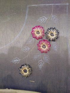 Dabka & cotton thread  work Hand Embroidery Dress, Kurti Embroidery Design, Embroidery Neck Designs, Hand Embroidery Videos, Embroidery Works, Creative Embroidery, Simple Embroidery, Learn Embroidery, Embroidery Fabric