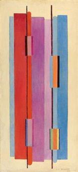 Aurore Boréale en rouge et bleu majeur by Marcel-Louis Baugniet 1950