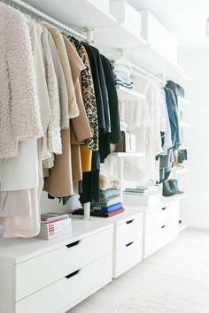walk in closet- dressing room - IKEA - Stolmen - Ankleidezimmer - - YSL - Saint Laurent - Monogram Université - Zara - Louis Vuitton Source by room design Ikea Closet, Wardrobe Closet, Closet Bedroom, Closet Storage, Home Bedroom, Wardrobe Storage, Master Closet, Organizing Wardrobe, Small Walk In Wardrobe