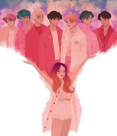 BTS and Halsey fanart is too good! Bts Chibi, Foto Bts, Bts Photo, Halsey, Fan Art, Fanart Bts, Jungkook Fanart, K Wallpaper, Trendy Wallpaper