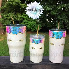 Stand out from the crowd with a beautiful unicorn glitter dipped stainless steel tumbler, perfect for you or your little one! Product pictured represents quote and image that will appear on final product. PRODUCT DETAILS: Available in three sizes: Diy Tumblers, Custom Tumblers, Glitter Tumblers, Craft Gifts, Diy Gifts, Glitter Projects, Unicorn And Glitter, Custom Cups, Tumbler Designs