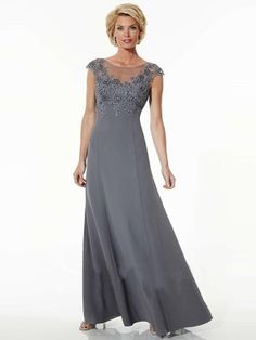 A-Line/Princess Jewel Short Sleeves Floor-Length Chiffon Applique Mother of the Bride Dresses - Mother of the Bride Dresses 2016 - Mother of the Bride Dresses