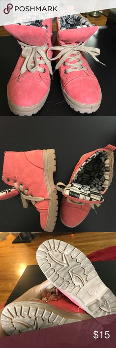 Laced Up Booties Luke new! Small signs of wear. Comfy laced up boots with cute design. Peach color. Shoes Lace Up Boots